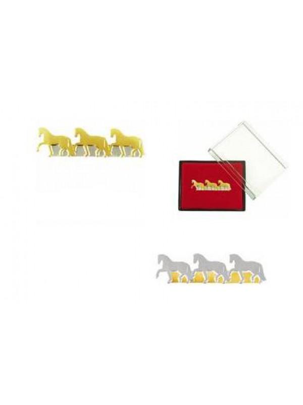 Broszka HR trzy konie kłusujące