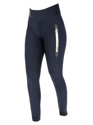 COVALLIERO, legginsy letnie SPORTY, z silikonowym lejem, damskie, granat